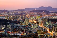Ορίζοντας της Σεούλ, Νότια Κορέα Στοκ φωτογραφία με δικαίωμα ελεύθερης χρήσης