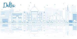 Ορίζοντας του Δελχί περιλήψεων με τα μπλε κτήρια και τις αντανακλάσεις Στοκ εικόνα με δικαίωμα ελεύθερης χρήσης