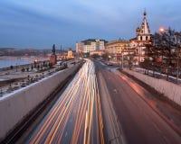 Ορίζοντας του Ιρκούτσκ και καθεδρικός ναός Epiphany, Σιβηρία, Ρωσία Στοκ εικόνες με δικαίωμα ελεύθερης χρήσης