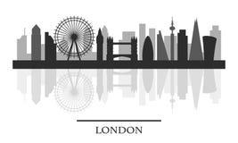 Ορίζοντας του Λονδίνου, γραπτή μοντέρνη σκιαγραφία Στοκ φωτογραφία με δικαίωμα ελεύθερης χρήσης