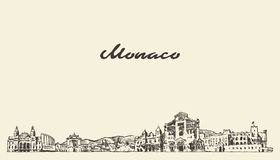 Ορίζοντας του Μονακό, εκλεκτής ποιότητας διανυσματικό συρμένο πόλη σκίτσο στοκ εικόνες