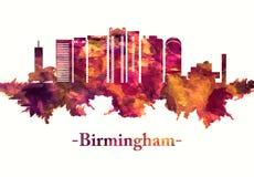 Ορίζοντας του Μπέρμιγχαμ Αγγλία στο κόκκινο διανυσματική απεικόνιση