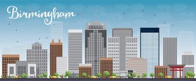 Ορίζοντας του Μπέρμιγχαμ (Αλαμπάμα) με τα γκρίζους κτήρια και το μπλε ουρανό διανυσματική απεικόνιση