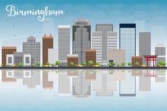 Ορίζοντας του Μπέρμιγχαμ (Αλαμπάμα) με τα γκρίζο κτήρια, το μπλε ουρανό και το ρ διανυσματική απεικόνιση