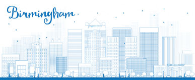Ορίζοντας του Μπέρμιγχαμ περιλήψεων (Αλαμπάμα) με τα μπλε κτήρια διανυσματική απεικόνιση