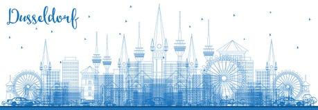 Ορίζοντας του Ντίσελντορφ Γερμανία περιλήψεων με τα μπλε κτήρια Στοκ Φωτογραφίες