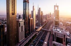 Ορίζοντας του Ντουμπάι στο χρόνο ηλιοβασιλέματος Στοκ φωτογραφία με δικαίωμα ελεύθερης χρήσης