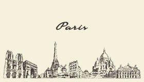 Ορίζοντας του Παρισιού, διανυσματικό συρμένο πόλη σκίτσο της Γαλλίας στοκ εικόνα