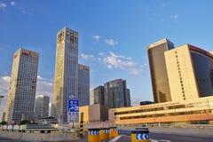 Ορίζοντας του Πεκίνου CBD το πρωί στοκ εικόνες