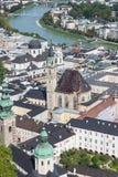 Ορίζοντας του Σάλτζμπουργκ με τον ποταμό Salzach στο έδαφος Salzburger Στοκ φωτογραφία με δικαίωμα ελεύθερης χρήσης