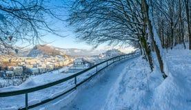 Ορίζοντας του Σάλτζμπουργκ με το φρούριο Hohensalzburg το χειμώνα, Σάλτζμπουργκ, Αυστρία Στοκ Εικόνες