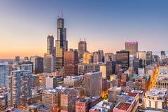 Ορίζοντας του Σικάγου, Ιλλινόις, ΗΠΑ στοκ φωτογραφίες με δικαίωμα ελεύθερης χρήσης