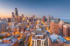 Ορίζοντας του Σικάγου, Ιλλινόις, ΗΠΑ στοκ εικόνα με δικαίωμα ελεύθερης χρήσης