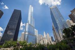 Ορίζοντας του Σικάγου, Ιλλινόις, ΗΠΑ Στοκ εικόνες με δικαίωμα ελεύθερης χρήσης