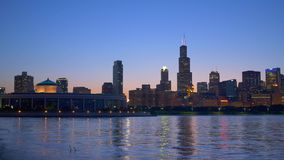Ορίζοντας του Σικάγου με τον πύργο Willis απόθεμα βίντεο