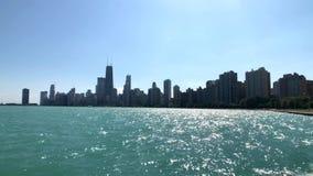 Ορίζοντας του Σικάγου στο χρόνο ηλιοβασιλέματος απόθεμα βίντεο