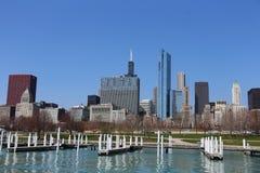 Ορίζοντας του Σικάγου το καλοκαίρι Στοκ Φωτογραφίες