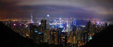 Ορίζοντας του Χογκ Κογκ τη νύχτα στοκ φωτογραφίες