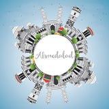 Ορίζοντας του Ahmedabad με τα γκρίζα κτήρια, το διάστημα μπλε ουρανού και αντιγράφων Στοκ φωτογραφίες με δικαίωμα ελεύθερης χρήσης