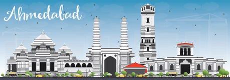 Ορίζοντας του Ahmedabad με τα γκρίζους κτήρια και το μπλε ουρανό Στοκ Εικόνες