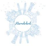Ορίζοντας του Ahmedabad περιλήψεων με τα μπλε κτήρια και το διάστημα αντιγράφων Στοκ Εικόνα