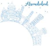 Ορίζοντας του Ahmedabad περιλήψεων με τα μπλε κτήρια και το διάστημα αντιγράφων Στοκ εικόνα με δικαίωμα ελεύθερης χρήσης