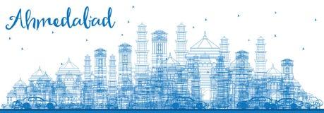 Ορίζοντας του Ahmedabad περιλήψεων με τα μπλε κτήρια Στοκ Εικόνα