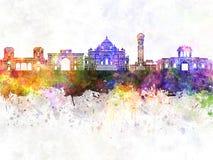 Ορίζοντας του Ahmedabad στο υπόβαθρο watercolor Στοκ εικόνα με δικαίωμα ελεύθερης χρήσης