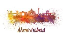 Ορίζοντας του Ahmedabad στο watercolor Στοκ εικόνα με δικαίωμα ελεύθερης χρήσης