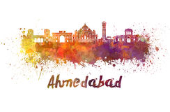 Ορίζοντας του Ahmedabad στο watercolor Στοκ Φωτογραφία