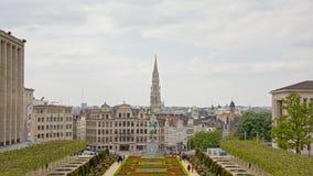 Ορίζοντας των Βρυξελλών από ` Mont des arts ` parc Στοκ εικόνα με δικαίωμα ελεύθερης χρήσης
