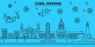Ορίζοντας χειμερινών διακοπών της Κούβας, Αβάνα Χαρούμενα Χριστούγεννα, διακοσμημένο καλή χρονιά έμβλημα με Άγιο Βασίλη Κούβα Αβά απεικόνιση αποθεμάτων