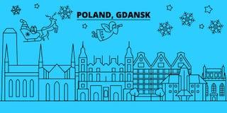 Ορίζοντας χειμερινών διακοπών της Πολωνίας, Γντανσκ Χαρούμενα Χριστούγεννα, διακοσμημένο καλή χρονιά έμβλημα με Άγιο Βασίλη Γνταν απεικόνιση αποθεμάτων