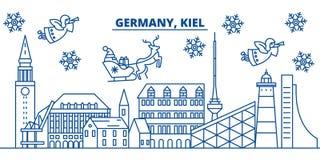 Ορίζοντας χειμερινών πόλεων της Γερμανίας, Κίελο ευτυχές εύθυμο νέο έτος &Chi διανυσματική απεικόνιση