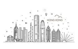 Ορίζοντας Χονγκ Κονγκ, διανυσματική απεικόνιση στο γραμμικό ύφος στοκ φωτογραφία με δικαίωμα ελεύθερης χρήσης