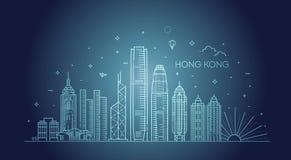 Ορίζοντας Χονγκ Κονγκ, διανυσματική απεικόνιση στο γραμμικό ύφος στοκ εικόνα
