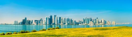 Ορίζοντας Doha, η πρωτεύουσα του Κατάρ Στοκ Φωτογραφίες
