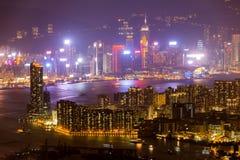 Ορίζοντας Kowloon Χονγκ Κονγκ από το ηλιοβασίλεμα λόφων ΜΚΟ Shan Fei Στοκ Φωτογραφία
