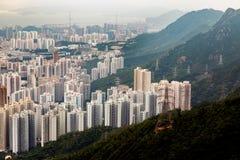 Ορίζοντας Kowloon Χονγκ Κονγκ από το ηλιοβασίλεμα λόφων ΜΚΟ Shan Fei Στοκ Εικόνες