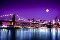 Ορίζοντας NYC και γέφυρα του Μπρούκλιν Στοκ Φωτογραφίες