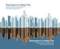 Ορίζοντες πόλεων επίσης corel σύρετε το διάνυσμα απεικόνισης Στοκ φωτογραφία με δικαίωμα ελεύθερης χρήσης
