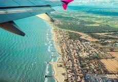ορατό φτερό όψης αεροπλάνων αεριωθούμενων αεροπλάνων μηχανών Στοκ Εικόνα