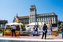 Οργάνωση σημαιών και διαμαρτυριών στη Βαρκελώνη, Καταλωνία στοκ φωτογραφία με δικαίωμα ελεύθερης χρήσης
