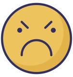 οργή, απομονωμένο διάνυσμα εικονίδιο βλέμματος emoticon που μπορεί εύκολα να τροποποιήσει ή να εκδώσει ελεύθερη απεικόνιση δικαιώματος