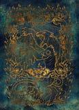οργή Η λατινική λέξη Ira σημαίνει το θυμό Έννοια επτά θανάσιμη αμαρτιών, χρυσή σκιαγραφία στο μπλε υπόβαθρο απεικόνιση αποθεμάτων