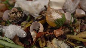 Οργανικά απόβλητα κουζινών για το λίπασμα με τα λαχανικά, τα φρούτα και τα ποικίλα τρόφιμα φιλμ μικρού μήκους