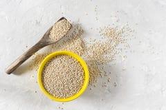 Οργανικά δημητριακά quinua στο κύπελλο χρώματος στο άσπρο υπόβαθρο στοκ εικόνες με δικαίωμα ελεύθερης χρήσης