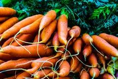 Οργανικά καρότα στην επίδειξη στην αγορά αγροτών στοκ εικόνες