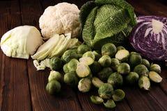 Οργανικά κεφάλια λάχανων Αντιοξειδωτική ισορροπημένη διατροφή που τρώει με το κόκκινο λάχανο, το άσπρο λάχανο και το κραμπολάχανο στοκ εικόνες με δικαίωμα ελεύθερης χρήσης