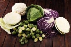 Οργανικά κεφάλια λάχανων Αντιοξειδωτική ισορροπημένη διατροφή που τρώει με το κόκκινο λάχανο, το άσπρο λάχανο και το κραμπολάχανο στοκ φωτογραφίες